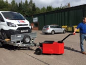 HD Trailer Mover towing 3 axle trailer