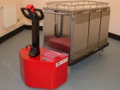 PowerTug moving Corsair heated food trolley