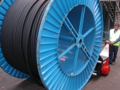 Super Power Pusher pushing 20,000Kg Cable Drum