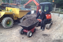Electric Wheelbarrow loaded with 350Kg of aggregate