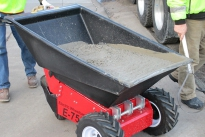 Electric Wheelbarrow loaded with concrete