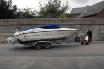 MUV Trailer Mover moving twin axle boat trailer