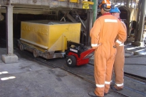 Power Pusher pulling slag trolley at Nyrstar Port Pirie