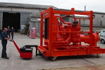 Super Power Pusher moving industrial pump on skid