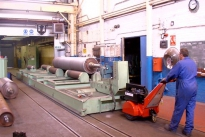 Super Power Pusher moving 55,000Kg roll handling bogie