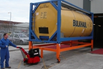 Super Power Pusher moving chemical ISO container