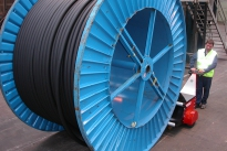 Super Power Pusher at Prysmian, pushing 20,000Kg cable drum