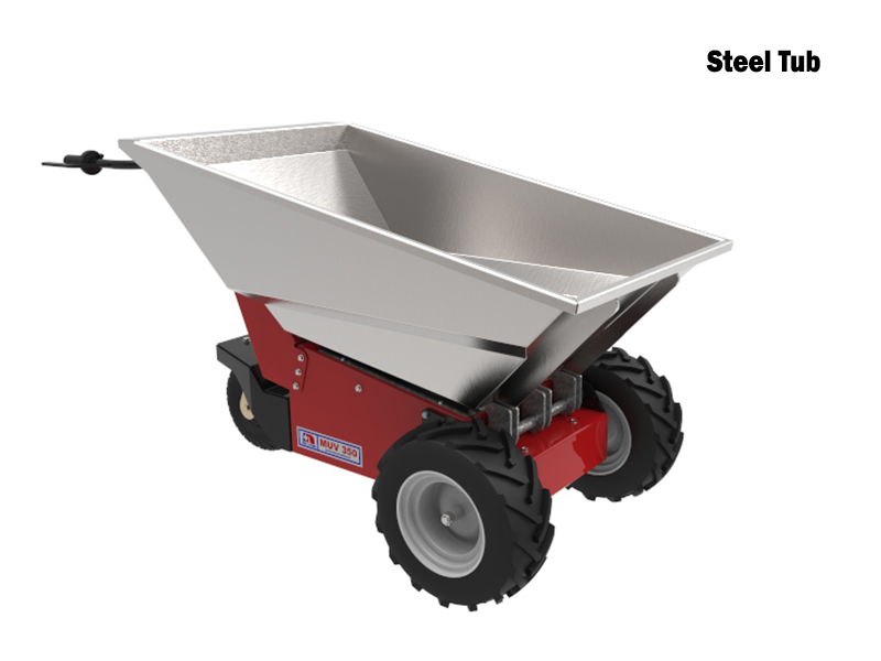 Muv electric wheelbarrow powered drive powered tip for Motorized wheelbarrows for sale