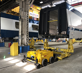 Railcar Mover pushing rail units along the production line at Alstom