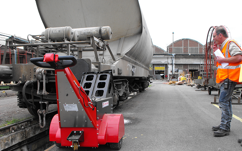 Super Power Pusher pushing rail freight wagon
