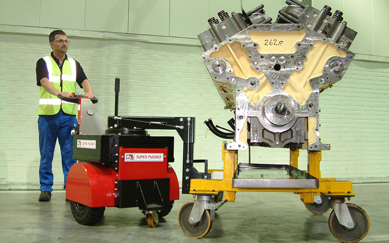 Super Power Pusher moving 7,000Kg diesel engine trolley